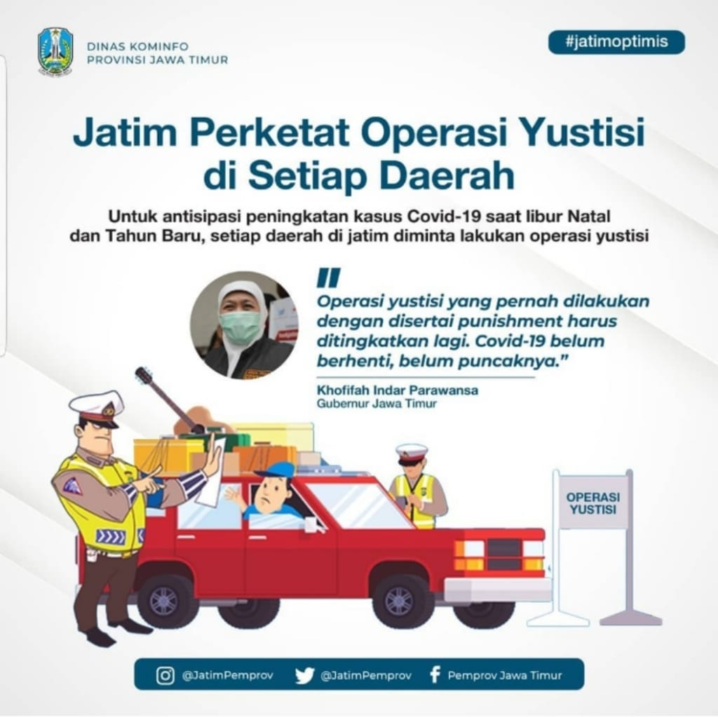 Kasus COVID-19 Meningkat, Khofifah Minta Gencarkan Operasi Yustisi