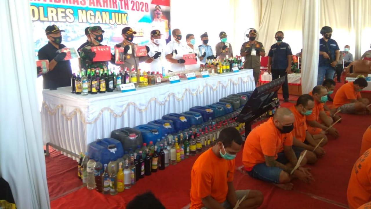 Penghujung Tahun 2020, Polres Nganjuk Musnahkan Narkoba Hasil Sitaan