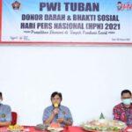 Awali HPN 2021, PWI Tuban Bakti Sosial Dan Donor Darah Patuhi Prokes