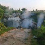 Lahan Bekas Tambang Batu Kumbung di Tambakboyo Tuban Ambruk