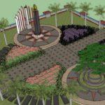Mahasiswa KKN UM Desain Bangunan Taman Pendopo Cengkok Nganjuk