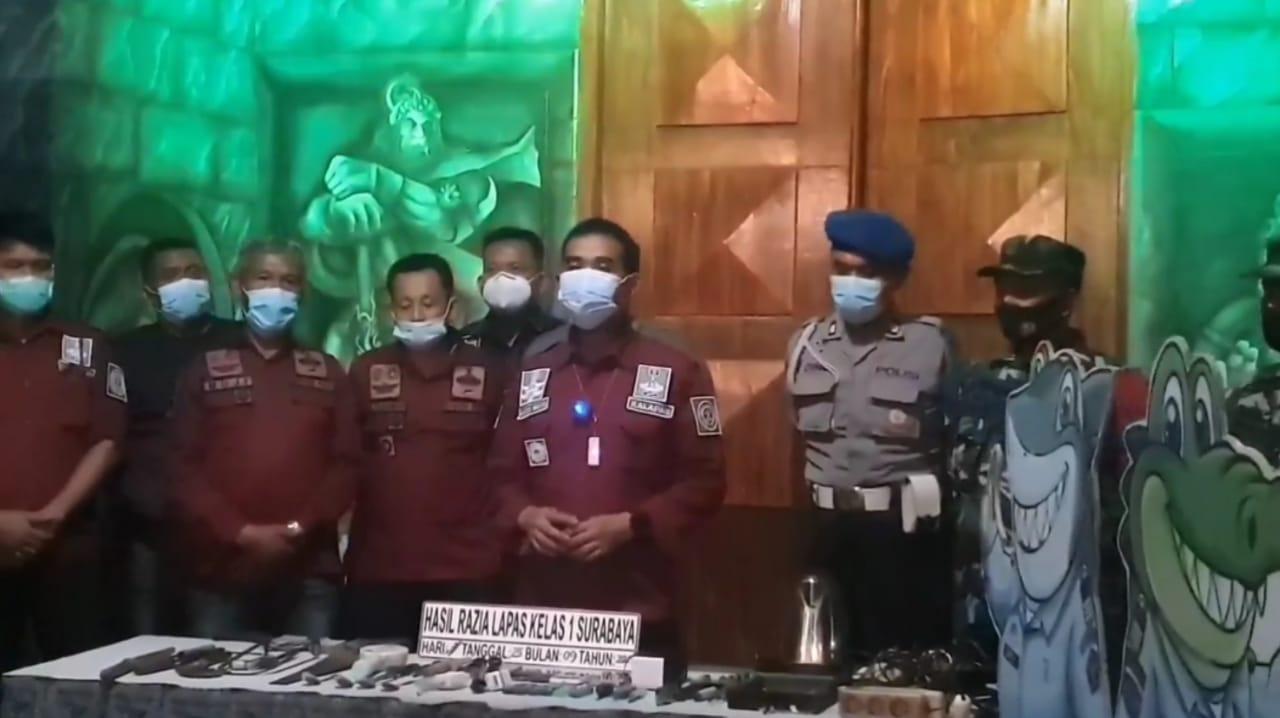 Razia Gabungan di Lapas Surabaya Temukan Senjata Tajam Rakitan